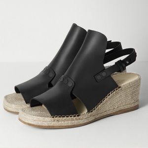 Rag & Bone Black Leather Espadrille Wedge 7